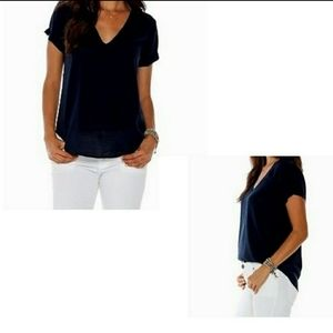 Cloth and stone black v neck high low t shirt.